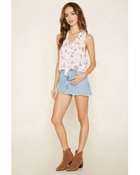 Forever 21 - Multicolor Women's Floral Print Tie-neck Top - Lyst