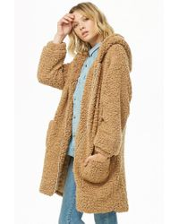 Forever 21 - Brown Woven Heart Hooded Faux Shearling Jacket - Lyst