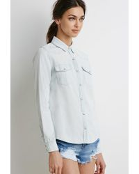 Forever 21 - Blue Western Chambray Shirt - Lyst