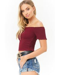 Forever 21 - Red Smocked Off-the-shoulder Crop Top - Lyst