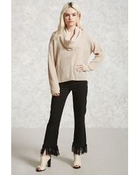 Forever 21 - Natural Cutout Cowl Neck Sweater - Lyst