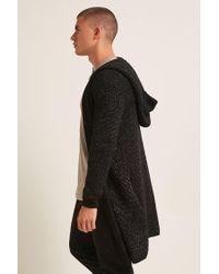 Forever 21 - Black Marled Knit Hooded Longline Cardigan for Men - Lyst