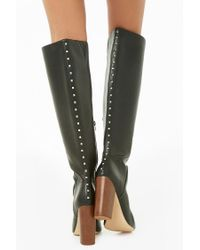 Forever 21 - Black Women's Studded Faux Leather Boots - Lyst