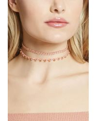 Forever 21 - Pink Chain-link Iridescent Choker Set - Lyst