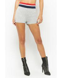 Forever 21 - Gray Heathered Stripe-trim Hoodie & Shorts Set - Lyst