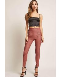 Forever 21 - Pink Double-zip Coated Pants - Lyst