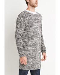 Forever 21 - Black Longline Marled Sweater for Men - Lyst