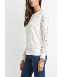Forever 21 - White Embroidered Mesh Layered Pullover - Lyst
