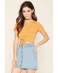 Forever 21 - Yellow Tie-waist Crop Top - Lyst