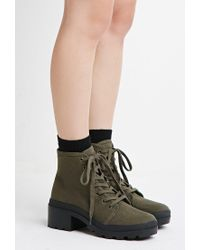Forever 21 - Green Canvas Lug Platform Boots - Lyst