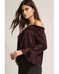 Forever 21 - Multicolor Off-the-shoulder Shadow Stripe Top - Lyst