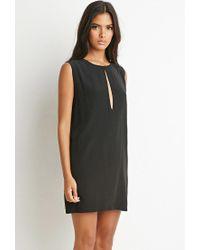 Forever 21 - Black Slit-neck Textured Dress - Lyst
