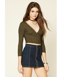Forever 21 - Green Ribbed Surplice Crop Top - Lyst