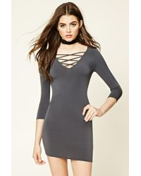 Forever 21 - Gray Strappy Crisscross-front Dress - Lyst