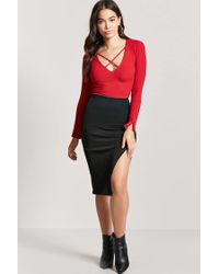 Forever 21 - Red Strappy Ribbed Knit Crop Top - Lyst