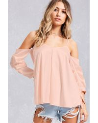 e861f32b8d16b7 Lyst - Forever 21 Satin Open-shoulder Top in Pink