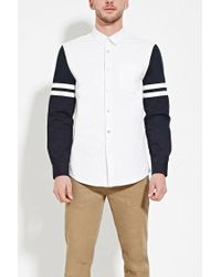 Forever 21 - Blue Striped-sleeve Cotton Shirt for Men - Lyst