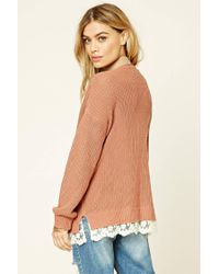 Forever 21 - Multicolor Scalloped Lace-hem Sweater - Lyst