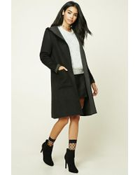 Forever 21 | Black Longline Wool-blend Hooded Coat | Lyst