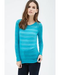 Forever 21   Blue Shadow Stripe Top   Lyst