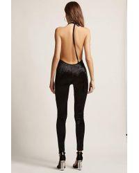 Forever 21 - Black Crushed Velvet Cowl Neck Jumpsuit - Lyst