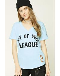 Forever 21 - Blue Out Of Your League V-neck Tee - Lyst