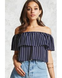 Forever 21 - Blue Striped Off-the-shoulder Top - Lyst