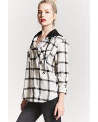 Forever 21 - Black Hooded Check Flannel Shirt - Lyst