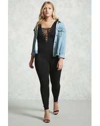 Forever 21 - Black Plus Size V-neck Jumpsuit - Lyst