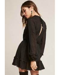 Forever 21 - Black Selfie Leslie Swiss Dot Ruffle-trim Mini Dress - Lyst