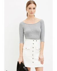 Forever 21 - Natural Buttoned Two-pocket Skirt - Lyst