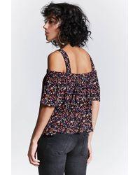 Forever 21 - Black Floral Open-shoulder Top - Lyst