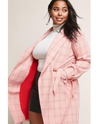 Forever 21 - Pink Women's Plus Size Cutout Check Coat - Lyst