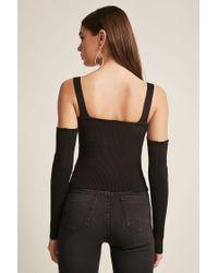 Forever 21 - Black Ribbed Open-shoulder Top - Lyst