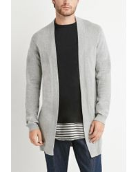 Forever 21 - Gray Longline Open-front Cardigan for Men - Lyst