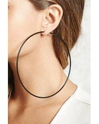 Forever 21 - Black Oversized Hoop Earrings - Lyst