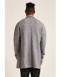 Forever 21 - Gray 's Open-front Longline Cardigan Sweater for Men - Lyst