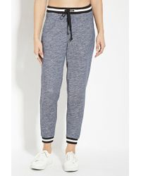 Forever 21 - Blue Varsity-stripe Heathered Sweatpants - Lyst
