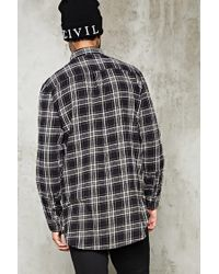 Forever 21 - Black Slim-fit Zip-hem Flannel Shirt for Men - Lyst