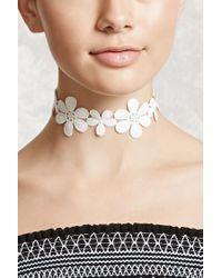 Forever 21 | White Crochet Floral Choker | Lyst