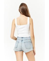 Forever 21 - White Square-neck Crop Top - Lyst
