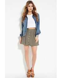 Forever 21 - Green Button-front Mini Skirt - Lyst