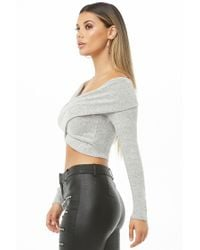 Forever 21 - Gray Marled Off-the-shoulder Crop Top - Lyst