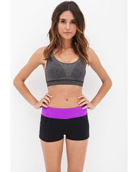 Forever 21 - Purple Side Pocket Skinny Workout Shorts - Lyst