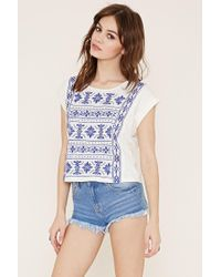 Forever 21 - Natural Cuffed-sleeve Embroidery Top - Lyst