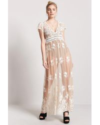 7c36f69ac9c Forever 21 Sheer Embroidered Maxi Dress in Natural - Lyst