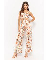 Forever 21 - White Crinkled Tie-front Crop Top & Smocked Trouser Set - Lyst