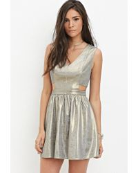 c253b3bcf8f Lyst - Forever 21 Metallic Fit And Flare Dress in Metallic