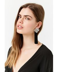 Forever 21 - Black Faux Jewel Tassel Earrings - Lyst