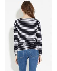Forever 21 | Blue Striped Wide-neck Top | Lyst